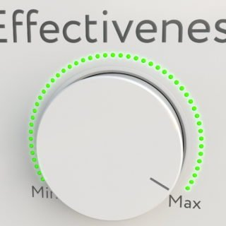 urning white hi-tech knob with effectiveness inscription from minimum to maximum. Conceptual 3D rendering