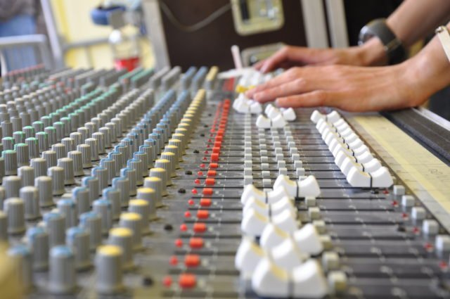 Audio Mixer Faders side view