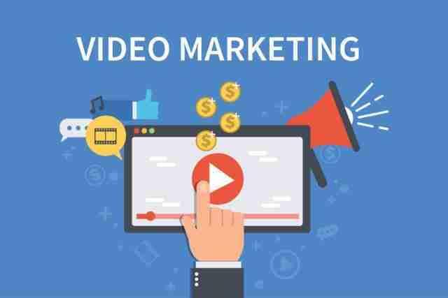 Blue video marketing concept banner